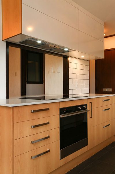 timber veneer kitchen cabinet